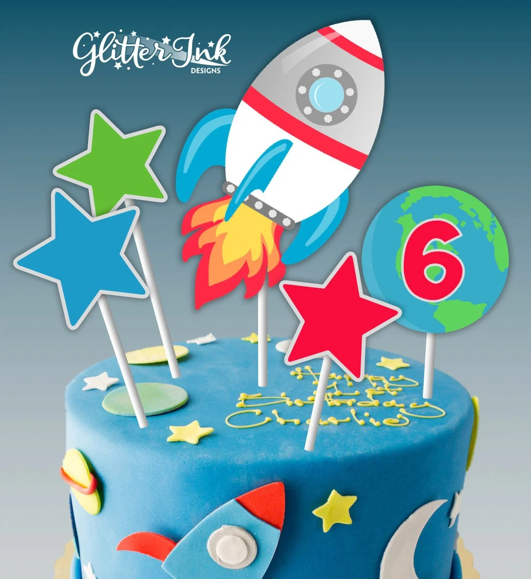 Astronaut Space Party Printable Outer Space Cake