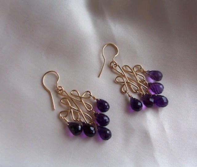 Amethyst Briolettes Earrings Celtic 14k Gold Filled  Total February Birthstone Mlmr Item 647