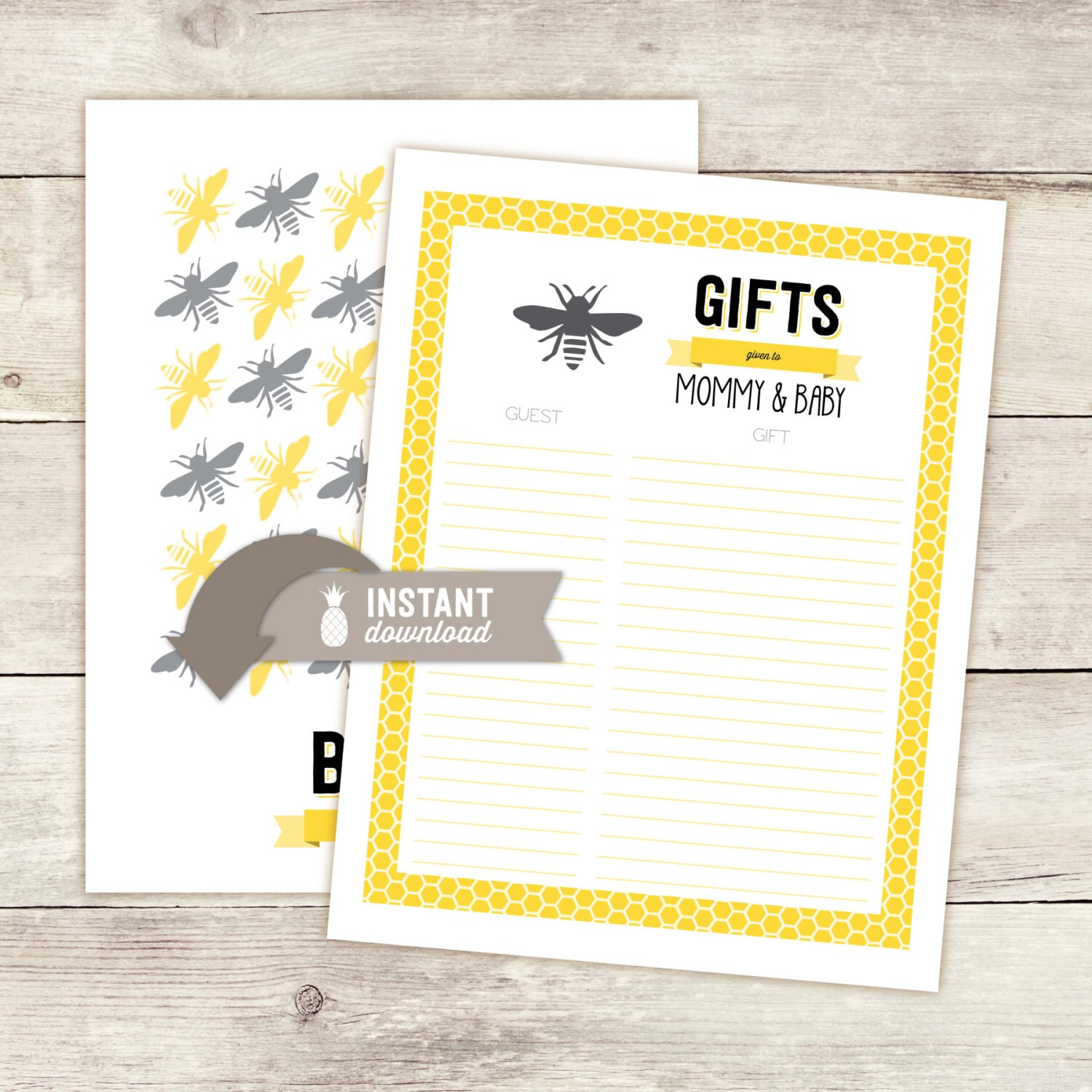 Bee Baby Shower Guest Amp T List Printables