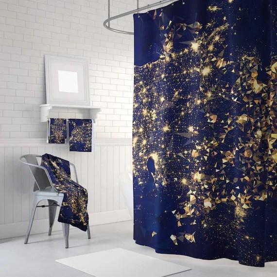 shower curtain blue shower curtain gold shower curtain triangles abstract curtain mosaic pattern curtain polygon flowers geometric curtain