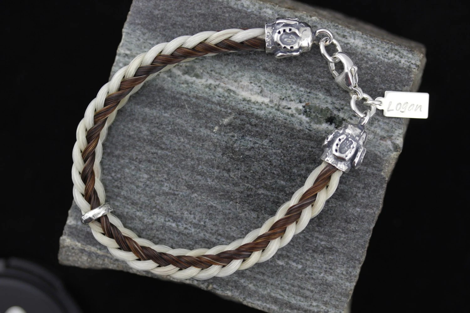 Custom Horse Hair Bracelet With Large Sterling Silver
