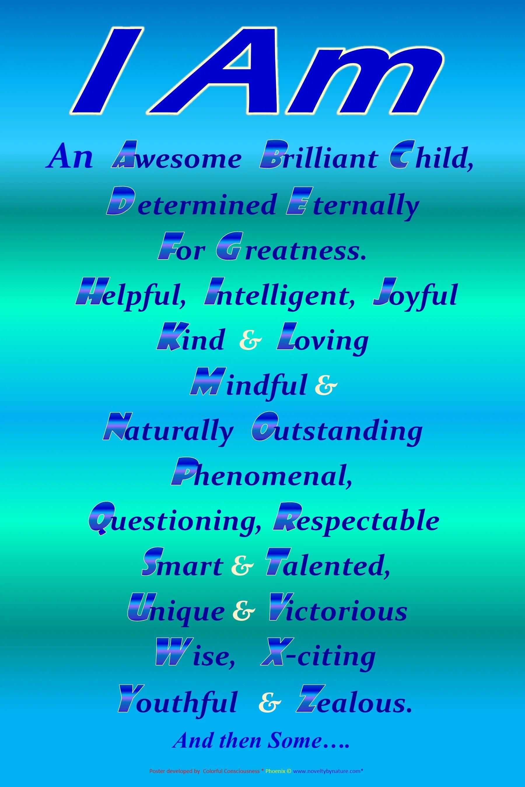 Positive Affirmation For Children I Am Affirmation Black