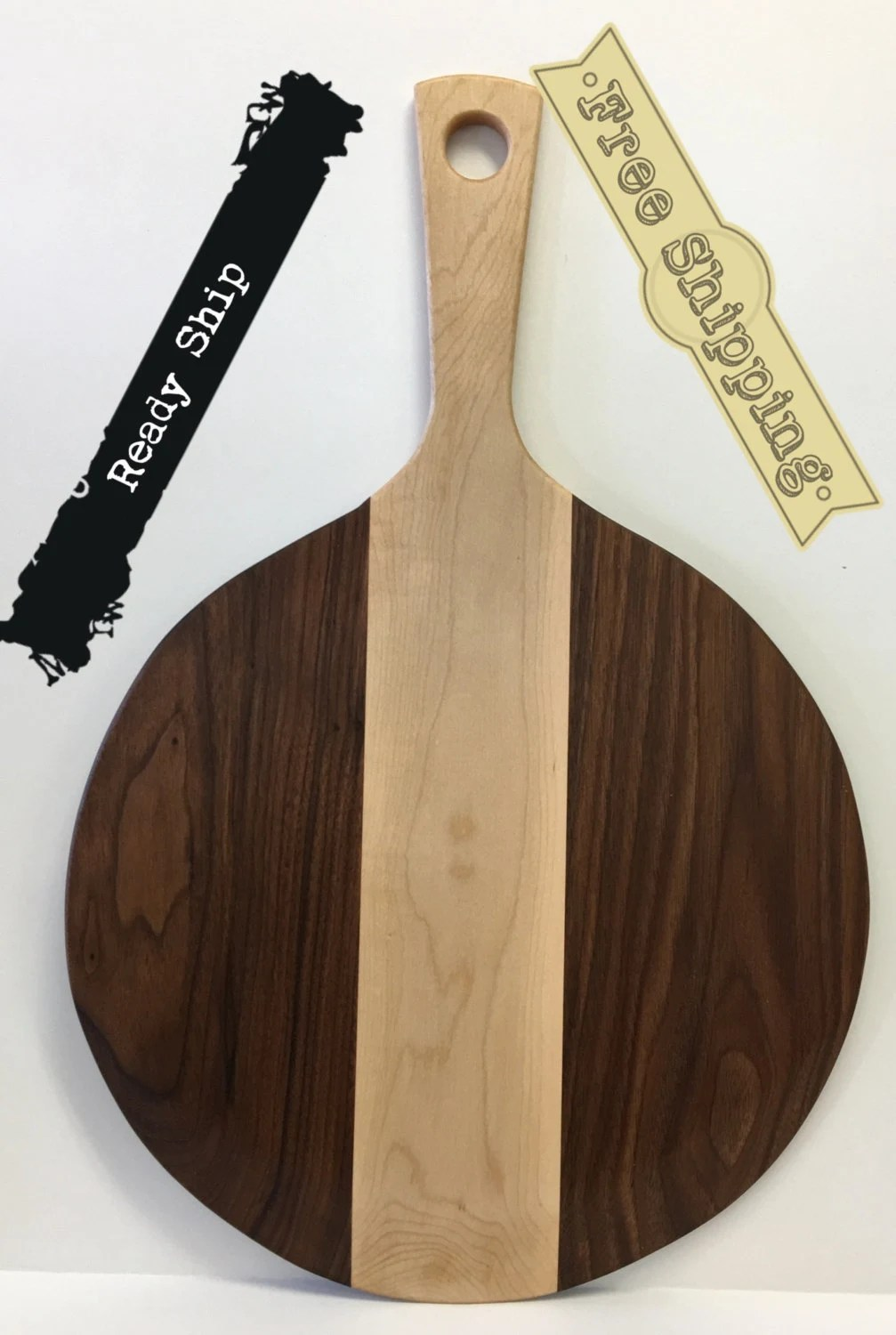 Pizza peel paddle BLACK WALNUT and Maple,  22  long, 14 across, 8 handle, 3/8 thick (inches).