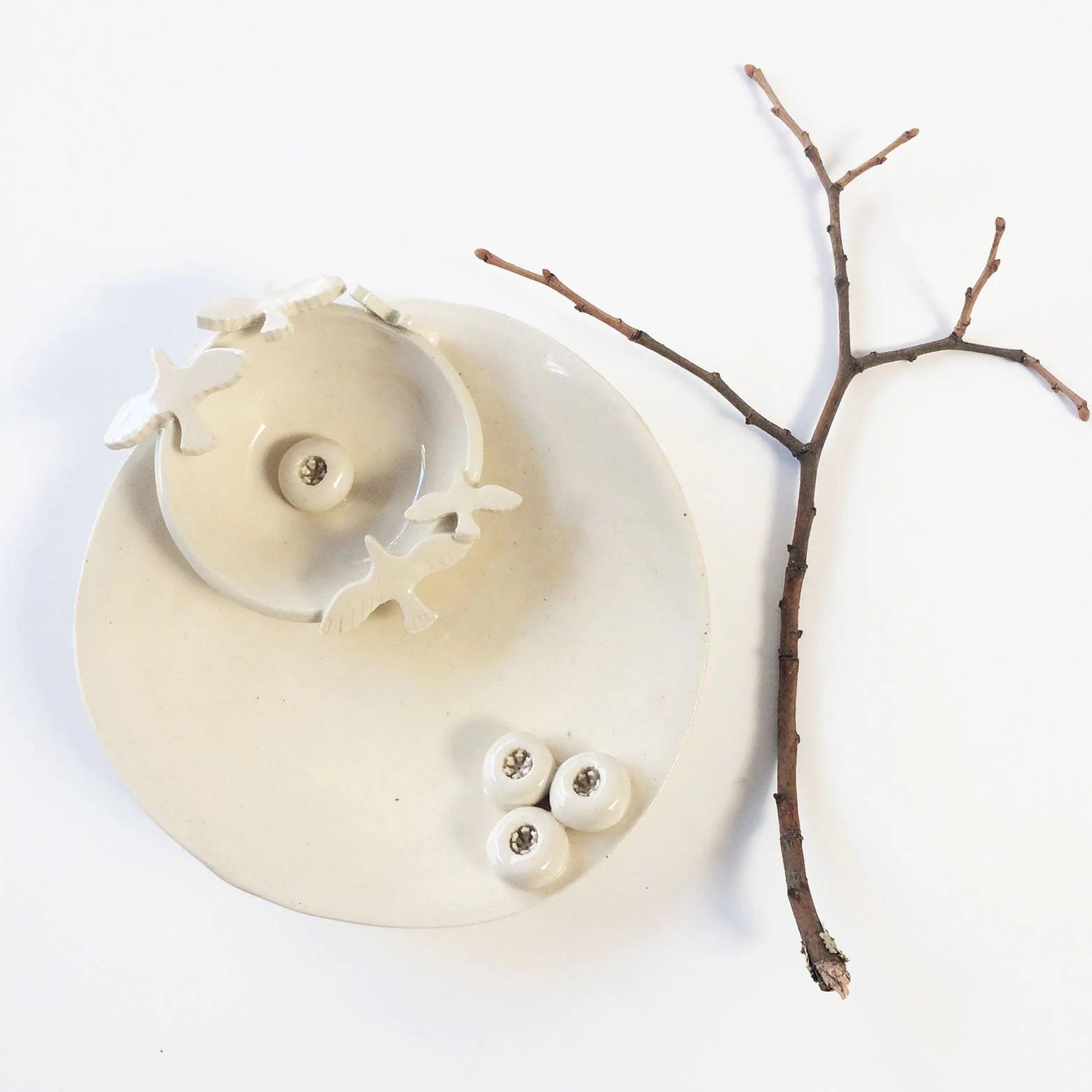 Birds And Nests Ceramic Plate Cozy Home Decor