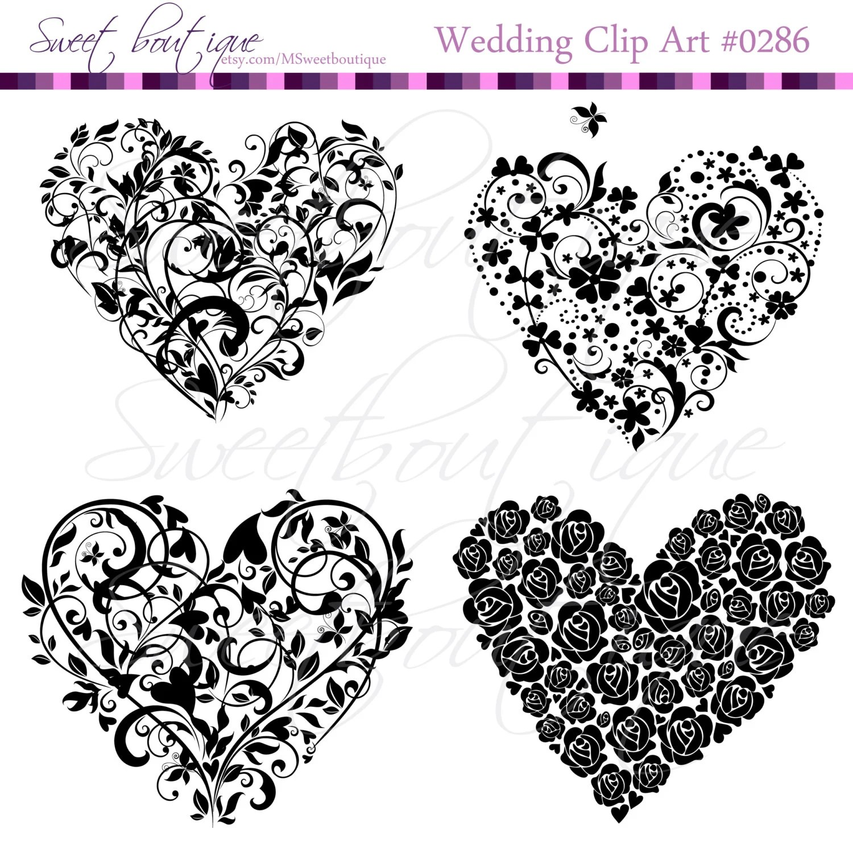 Black Digital Clipart Heart Rustic Frames Clip Art