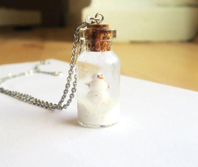 Snowman Snowglobe Necklace Snowman Necklace Snow Necklace Winter Necklace Christmas Necklace Christmas Jewelry