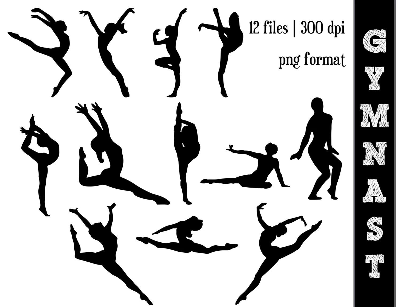 Gymnast Silhouettes Gymnastics Silhouette Gym