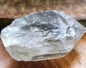 Raw Clear Quartz Point, Tibetan Black Quartz Crystal Wand ~1559