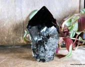 Raw Black Obsidian Crystal Tower with Polished Point Volcanic Glass Tower ~1874