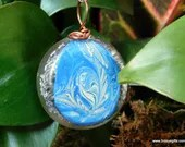 Blue Hand Painted Orgone Pendant, Abstract Art Jewelry Healing Amulet ~500