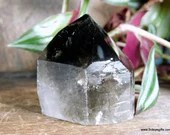 Raw Smoky Quartz with Polished Point, Black Smoky Quartz Tower, Crystal Tower ~1869