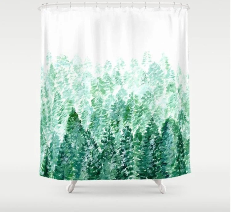 forest shower curtain forest curtain tree shower curtain pine tree curtain green shower curtain white shower curtain forest shower