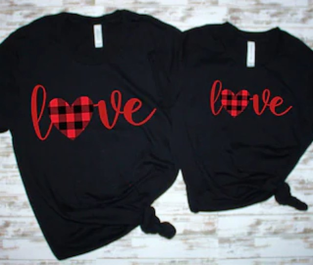 Love Red Plaid Valentines Day Shirt Womens Valentines Clothes Mom Daughter Valentines Shirts Girls Valentines Shirt Toddler Valentine