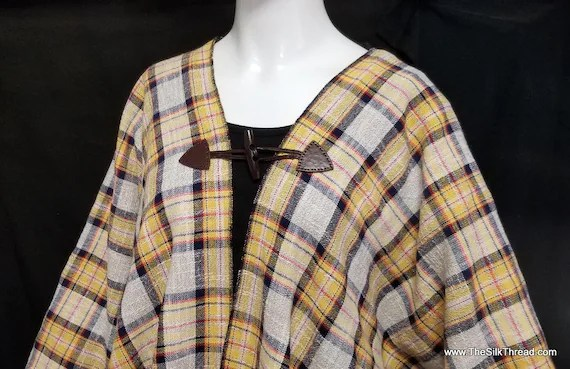 Kimono,Yellow Plaid Wool Mix, Hand Crafted, Wood Buttons, Large to Plus Size, Lovely Vintage Fabric from Shulins Woolen Co, Free USA ship