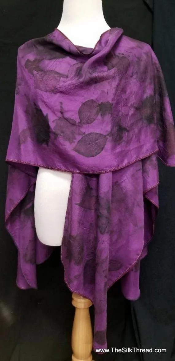 Purple Silk Ruana, Wrap, Cape, Shawl, Beautiful  Ecoprinted with Leaves by Artist, Handcrafted, Slow Fashion, Fits All Sizes, FREE Ship USA