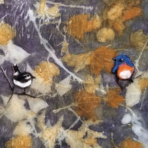 Bluebirds,Chickadees, Ecoprinted Silk Wall Hanging with Hand Felted Birds & Backing, Driftwood Hanger,by Artist,Wall Art,Decor,26 x 46 in.