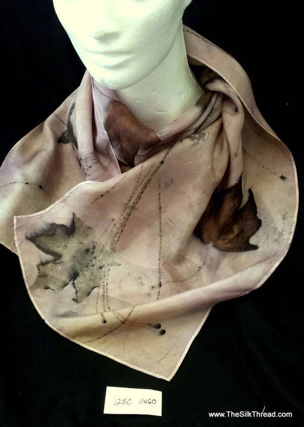 "Lavender Silk Scarf, eco-printed with maple, pine and sumac by artist, all natural, sustainable, unique slow fashion art, 11"" x 60"" 125C"