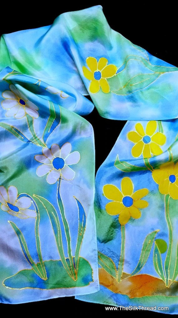 "Silk Scarf,Original Hand Drawn Yellow & White Flowers by Artist, 8""x72"", Multcolored, One of a Kind, Custom Designs available, free ship US"
