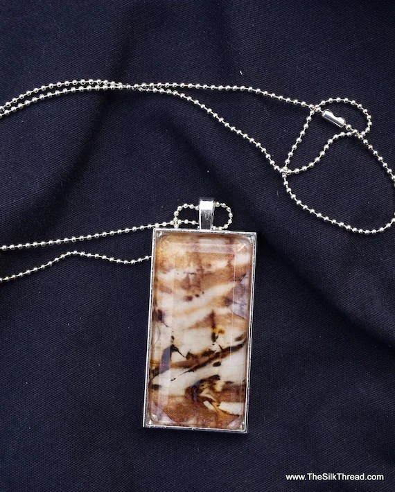 "Ecoprinted silk Necklace, silk jewelry, Hand painted silk pendant, 1"" x 2"", Handmade silk art by artist, leaf imprints, organza gift bag,"