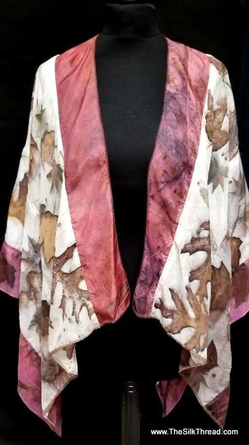 Silk Wrap, Ruana, Ecoprinted 2 Tone Rose, Organic Leaf Designs of Maple & Oak, Slow Fashion Created By Artist Fits All Sizes, FREE Ship USA