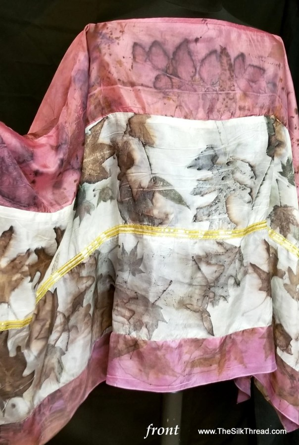 Silk Wrap, 2 Tone Natural & Rose Colored Organic Leaf Designs, Maple and Rose, Created By artist,Shawl, Ruana, Fits All Sizes, FREE Ship USA