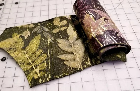 "Leather Hide Remnant, Ecoprinted Designs from Plants,DIY project ready,Bronze,Gold and Purple Shades,Two Sided Images,35""× 8"",Leather crafts"