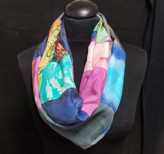 Infinity silk scarf.Created from hand painted & ecoprinted scarves by artist. Colorful, tubular, multicolored,original art,i12,Free ship USA