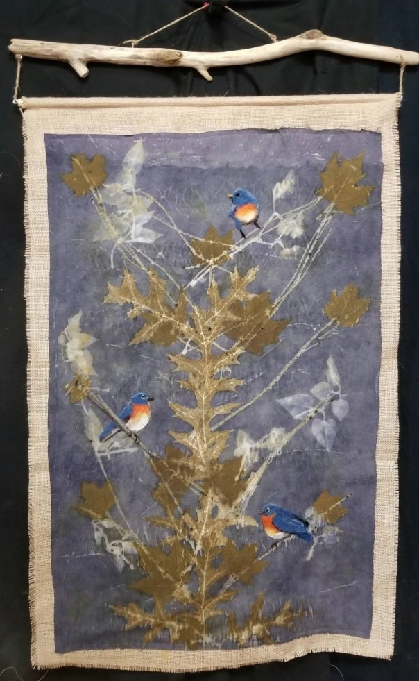 Bluebirds,Ecoprinted Silk Wall Hanging with Hand Felted Birds & Backing, Driftwood Hanger, All Natural,by Artist,Wall Art,Decor,26 x 40 in.