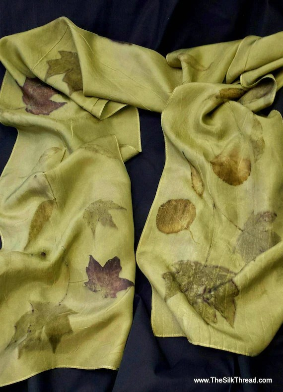 "Silk Scarf Eco-printed with Leaves by Artist, Beautiful Olive Green from Goldrenrod Flowers, All Natural, 8"" x 72"" 220A, FREE Ship USA, OOAK"