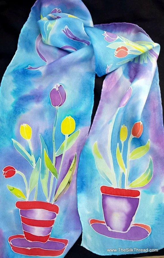 Tulips on Silk Scarf, flower art, red, yellow, blues and purples silk, Original hand painted silk art by artist M Theresa Brown, OOAK