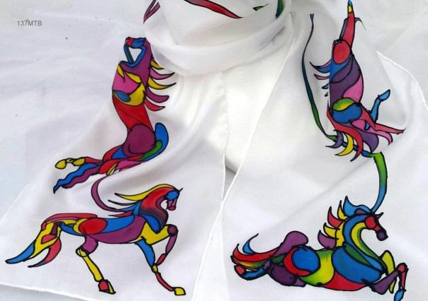 Lovely HORSES silk scarf, 8x54 pure silk scarf with hand drawn equine art created by artist M Theresa Brown, Beautiful multi-colored horses