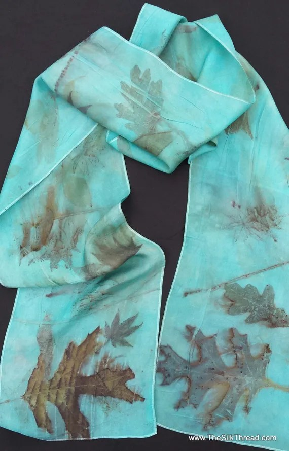 "Turquoise pure Silk Scarf, Eco-printed leaf designs & colors imprinted from Nature, 8"" x 72"", Natural silk art by artist,OOAK, USA ship FREE"