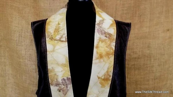Leather Long Vest, Rich Chocolate & Unique Ecoprinted Leather of Natural Designs,Artisinal Clothing Hand Crafted by Artist, Lagenlook, Boho