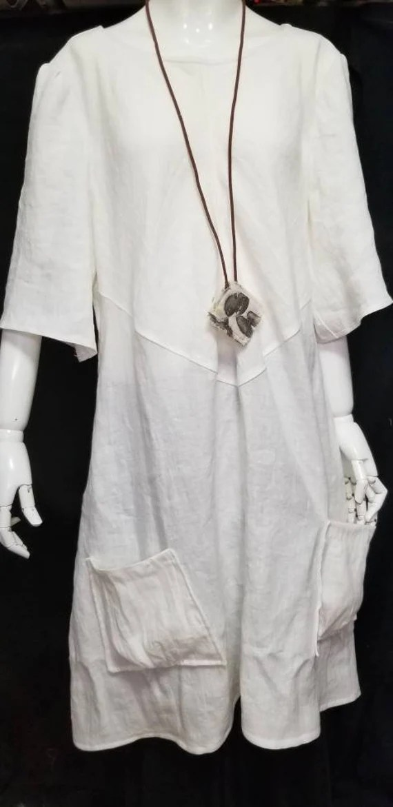 Beautiful, Crisp, Pure Linen Dress, Tunic, Flattering Hand Crafted Design, Pockets, White, By Artist, Fits Sizes to 1X, Custom made to order