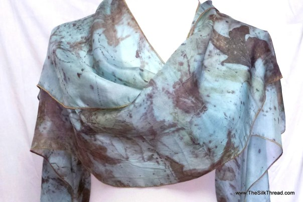 Blue Silk Shawl, Eco-printed Organic Leaf Designs, Handcrafted by artist,Silky lightweight Comfort, Fits Sizes S-L, Cape, Wrap, FREE Ship US