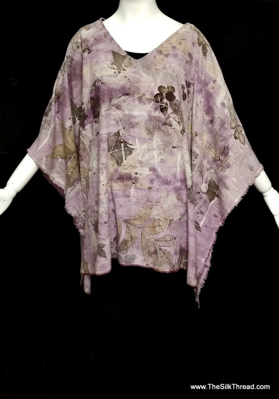 Silk Tunic,Ecoprinted Designs from Nature,Hand Crafted By Artist, Lavendar,Fabric Buttons, Fits all Sizes, Nature's Designs Free USA ship