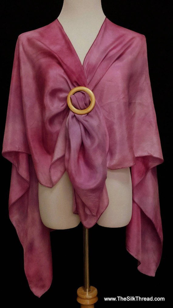 Purple Silk Wrap, Cape, Shawl, Abstract Design by Artist, Handcrafted with love, Silky Wine Colored Comfort, Fits Everyone, FREE Ship USA