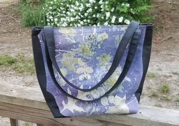 Black Leather Ecoprinted Purse,Designs Created from Actual Plants,Large,Handcrafted, Logwood Dyed,by Artist, Purse, Pocketbook,Free USA Ship