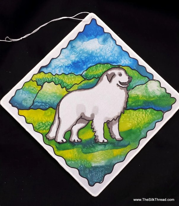 "Great Pyrenees dog, Suncatcher, whimsical hand painted silk art, 8"" square sun catcher, stained glass look, window art, wall decor by artist"