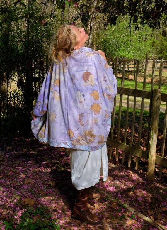 Ecoprinted Silk Jacket,Blazer,Kimono, Designs from Nature,Hand Crafted By Artist,2 Toned, Fits all Sizes, Nature's Designs Free USA ship