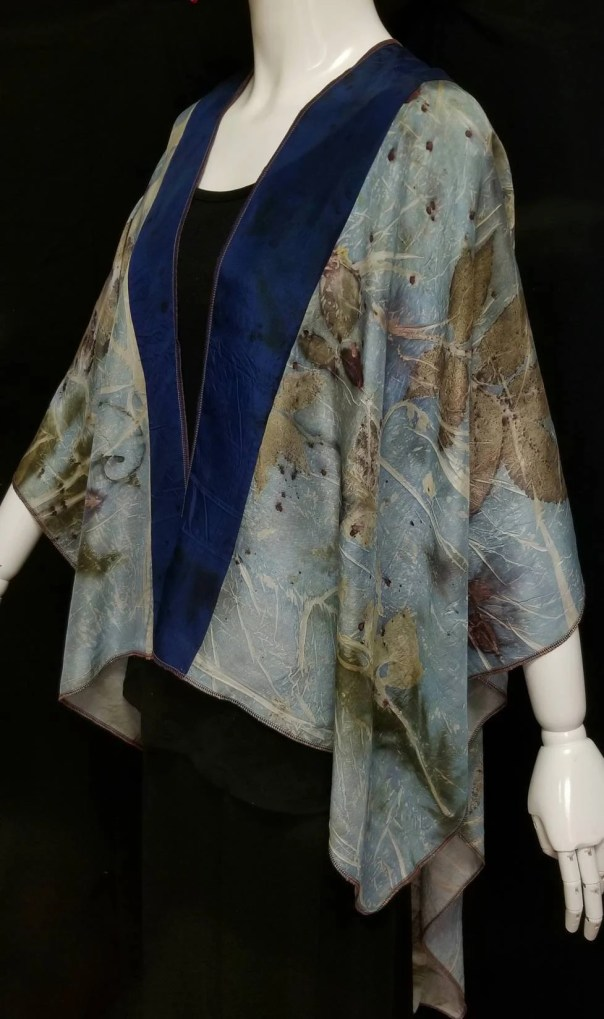Silk Wrap, 2 Tone Natural & Blue, Organic Leaf Designs of Maple and Rose, Created By artist,Cape,Shawl, Ruana, Fits All Sizes, FREE Ship USA