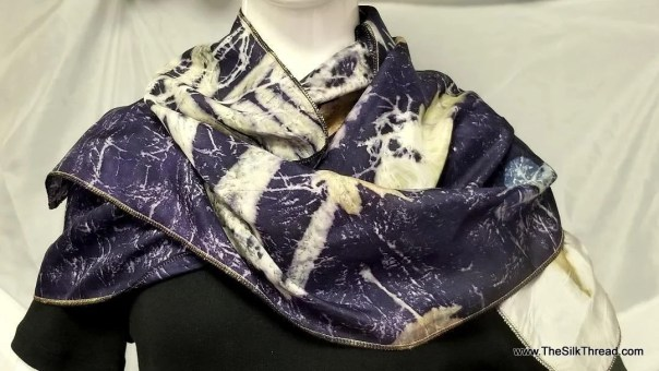"""Silk Scarf, Wrap, Deep Purple, Ecoprinted with Flowers,Leaves & Natural Dyes, Gold trim,Organic, Sustainable Art Created By artist, 14""""x70"""""""