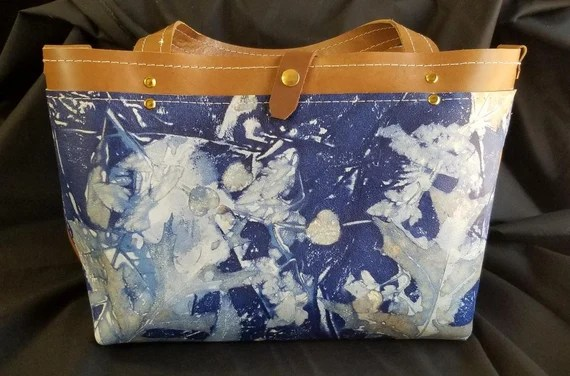 Blue, Ecoprinted Leather Handbag, Designs Created from Actual Plants, Handcrafted, Hand dyed  by Artist, Purse, Pocketbook,Free USA Ship
