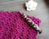 Violet Ergonomic Wood Crochet Hook with Wildflowers Wood