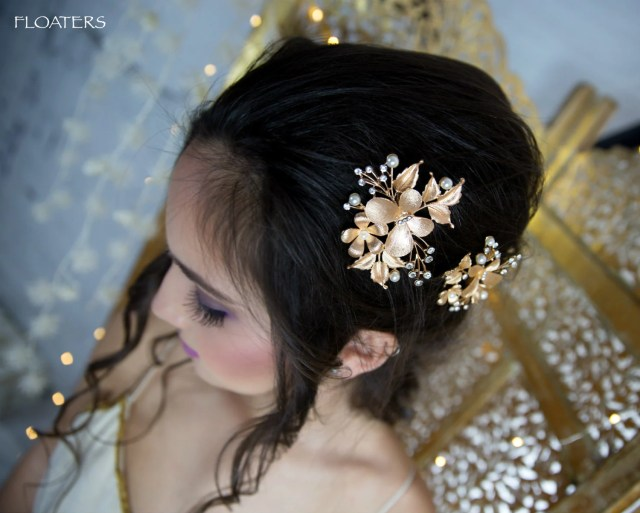 gold hair clips, gold barrettes and hair clips, gold wedding hair accessories, gold bridal hair accessories, gold hair piece