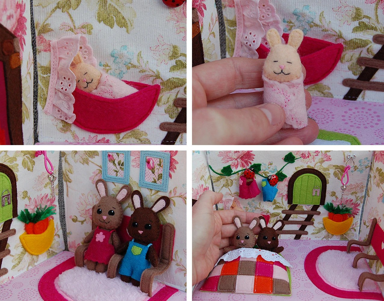 PDF Pattern & tutorial   Rabbit home / dollhouse in hand bag image 3