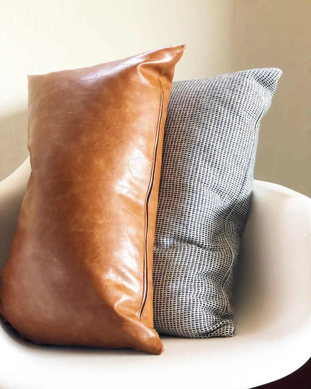 cognac faux leather lumbar pillow cover brown 14x24 inch hygge throw pillows mid century farmhouse decor rustic vegan leather