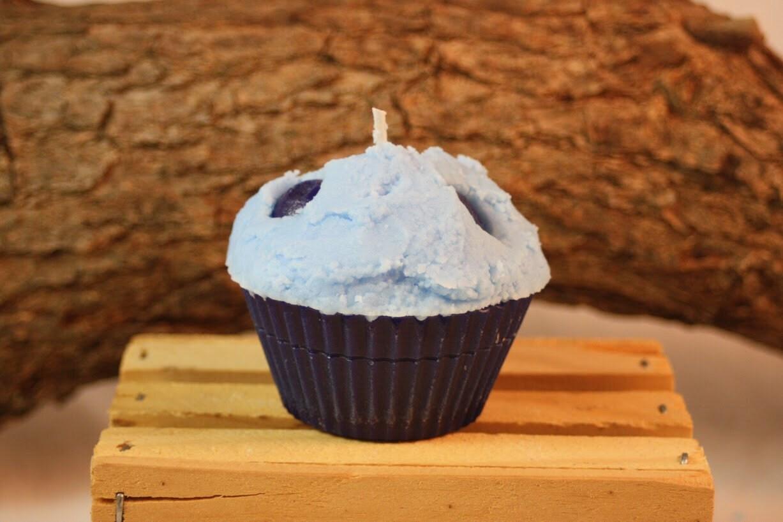 Beautiful Blueberry Cupcake Candle Standard Cupcake Size