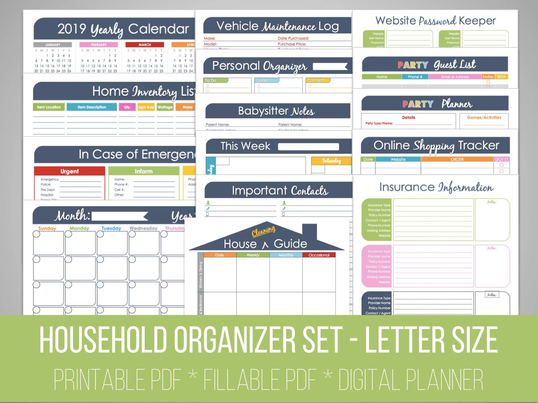 Household Binder Set Fillable Organizing Printables