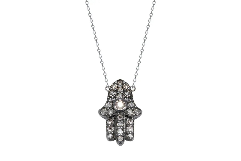 Sterling Silver Diamond Hamsa Necklace Dainty Antique